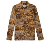 Printed Cotton-flannel Shirt - Tan