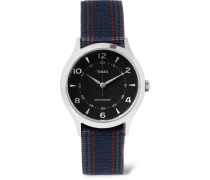 Whitney Village Stainless Steel And Striped Grosgrain Watch