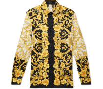 Printed Silk-twill Shirt - Yellow