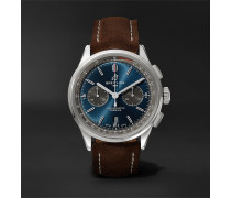 Premier B01 Automatic Chronograph 42mm Stainless Steel and Nubuck Watch, Ref. No. AB0118221G1X1