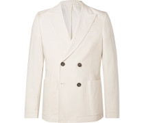 Cream Double-breasted Cotton Suit Jacket