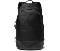 Radial Leather-trimmed Shell Backpack - Black