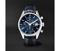 Carrera Automatic Chronograph 41mm Steel And Alligator Watch - Blue