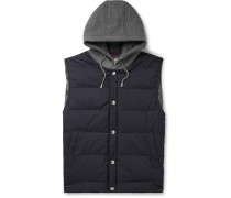 Cashmere and Quilted Shell Hooded Down Gilet