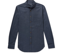 Venus Slim-fit Cutaway-collar Cotton-flannel Shirt - Navy