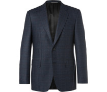 Navy Slim-fit Prince Of Wales Checked Wool Suit Jacket - Navy