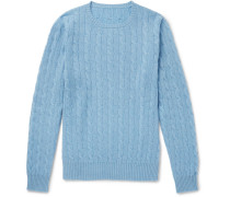 Cable-knit Cashmere Sweater - Light blue