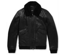 Shearling-trimmed Leather Aviator Jacket - Black