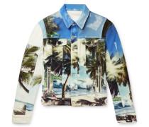 Printed Distressed Denim Jacket - Blue
