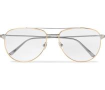 Santos De Cartier Aviator-style Gold And Silver-tone Glasses - Gold