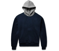Oversized Two-tone Loopback Cotton-jersey Hoodie