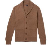 Slim-fit Shawl-collar Ribbed Merino Wool-blend Cardigan - Brown