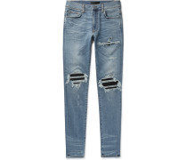 Mx1 Skinny-fit Leather-panelled Distressed Stretch-denim Jeans - Blue