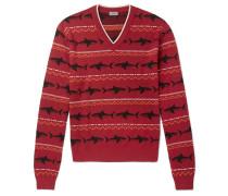 Shark-intarsia Merino Wool Sweater - Red