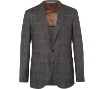 Grey Unstructured Prince Of Wales Checked Virgin Wool And Silk-blend Suit Jacket