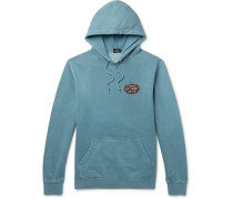 Printed Fleece-back Cotton-blend Jersey Hoodie - Blue