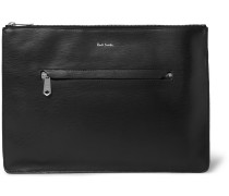 Stripe-trimmed Textured-leather Pouch - Black