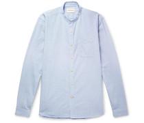 Grandad-collar Pinstriped Cotton Shirt