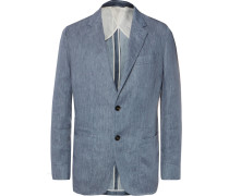 Blue Unstructured Mélange Linen Blazer