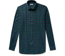 Ween Slim-fit Cutaway-collar Checked Cotton-flannel Shirt - Navy
