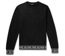 Logo-trimmed Loopback Cotton-jersey Sweatshirt - Black