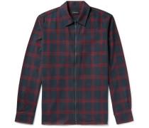 Checked Cotton-flannel Zip-up Shirt Jacket - Burgundy