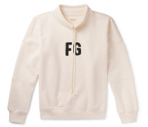 Logo-appliquéd Loopback Cotton-jersey Mock-neck Sweatshirt - Cream