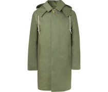 Bonded-cotton Hooded Raincoat - Green