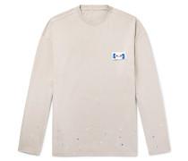Oversized Logo-Appliquéd Paint-Splattered Cotton-Jersey T-Shirt