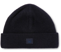Ribbed Wool-blend Beanie - Navy