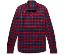 Slim-fit Checked Cotton-twill Half-placket Shirt