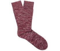 Miller Mélange Stretch Cotton-blend Socks - Red