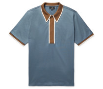 Contrast-trimmed Cotton-jersey Polo Shirt - Blue