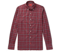 Button-down Collar Checked Cotton-twill Shirt