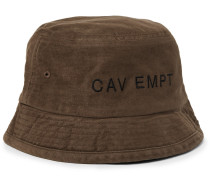 Embroidered Cotton-canvas Bucket Hat - Brown