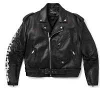 Printed Leather Biker Jacket - Black