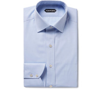 Light-blue Slim-fit Cotton-poplin Shirt