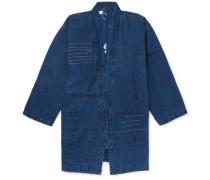Patchwork Embroidered Linen Jacket - Indigo