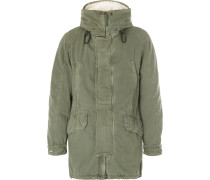 Shearling-trimmed Hooded Canvas Down Parka - Green