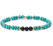 Turquoise, Onyx And 14-karat Gold-plated Bracelet - Blue