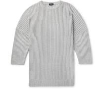 Oversized Cutout Metallic Knitted Sweater - Gray