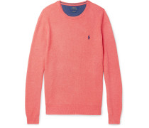 Honeycomb-knit Pima Cotton Sweater - Coral