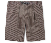 Pinstriped Pleated Linen-gauze Drawstring Bermuda Shorts - Brown