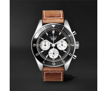 Autavia Automatic Chronograph 42mm Polished-steel And Leather Watch
