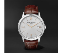 Classima Quartz 42mm Stainless Steel And Croc-effect Leather Watch - White