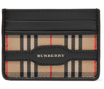 Checked Twill And Leather Cardholder - Tan