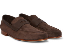 Hendra Leather-Trimmed Suede Penny Loafers
