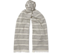Striped Cashmere, Silk and Cotton-Blend Scarf