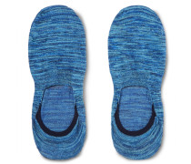 Invisible Space-dyed Stretch Egyptian Cotton-blend No-show Socks - Blue