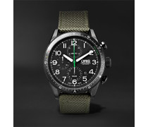 Paradropper Limited Edition Automatic Chronograph 44mm Titanium And Canvas Watch - Black
